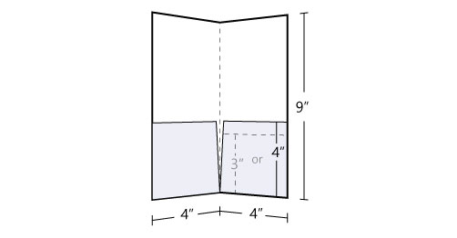 4x9 Pocket Folder Standard  130lb Uncoated Cover
