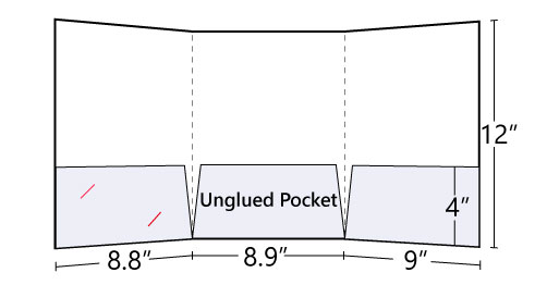 Tri-Panel Pocket Folder with 3 pockets