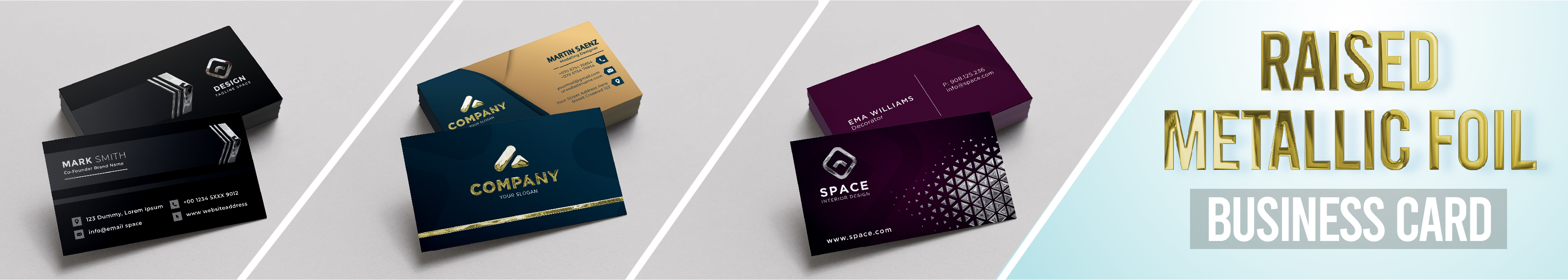 Raised Metallic Foil Business Cards